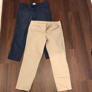 2 pairs of Old Navy pixie ankle Khaki pants.